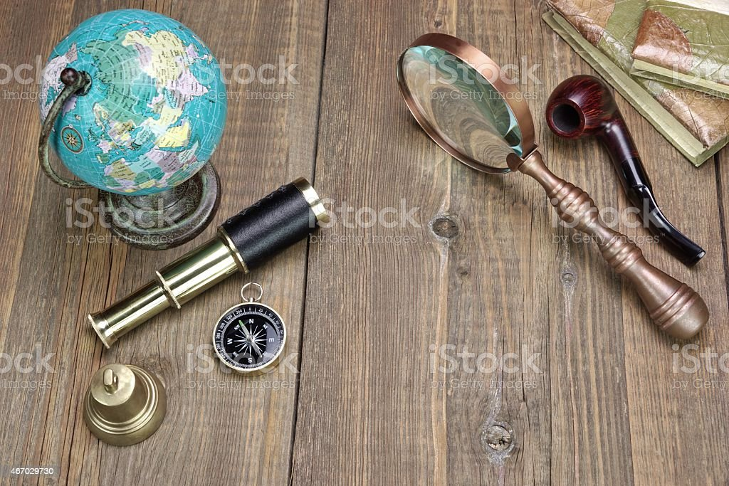 Large Group Of Travel Obgects on Grynge Wooden Table stock photo