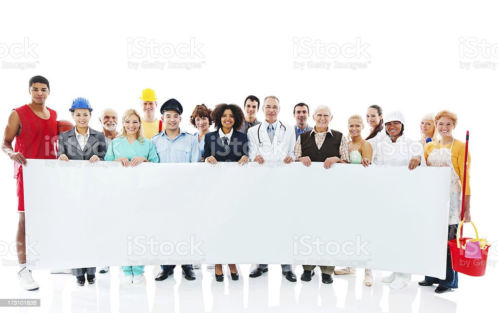 Large Group of Various Occupations people holding blank paper. stock photo