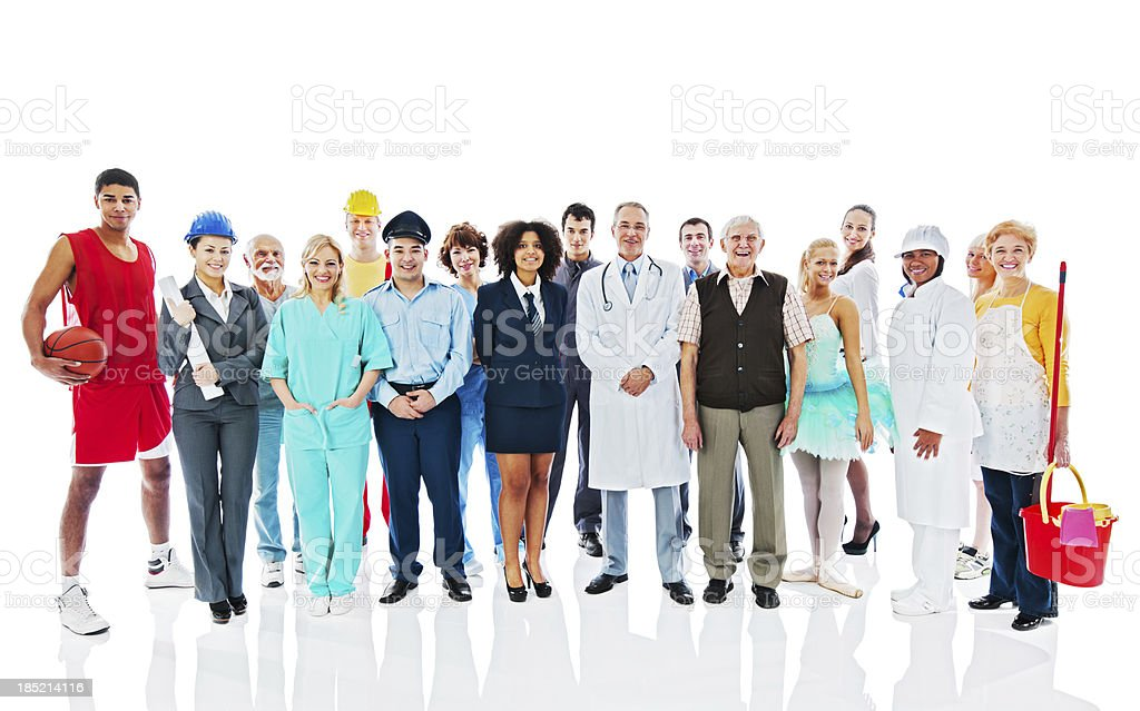 Large Group of Various Occupations people. stock photo