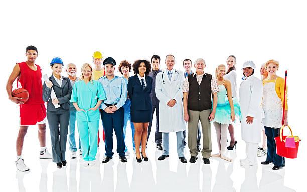 Grand groupe de personnes de diverses professions. - Photo