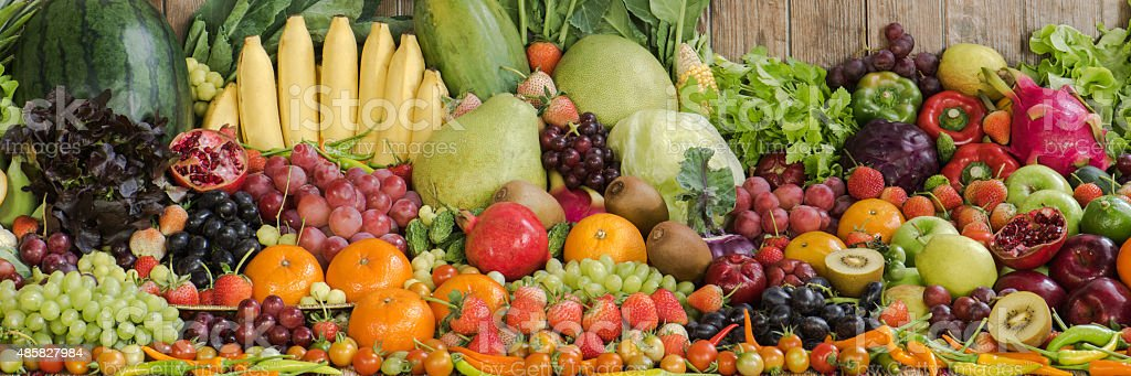 Large group of vegetables and tropical fruits for healthy stock photo