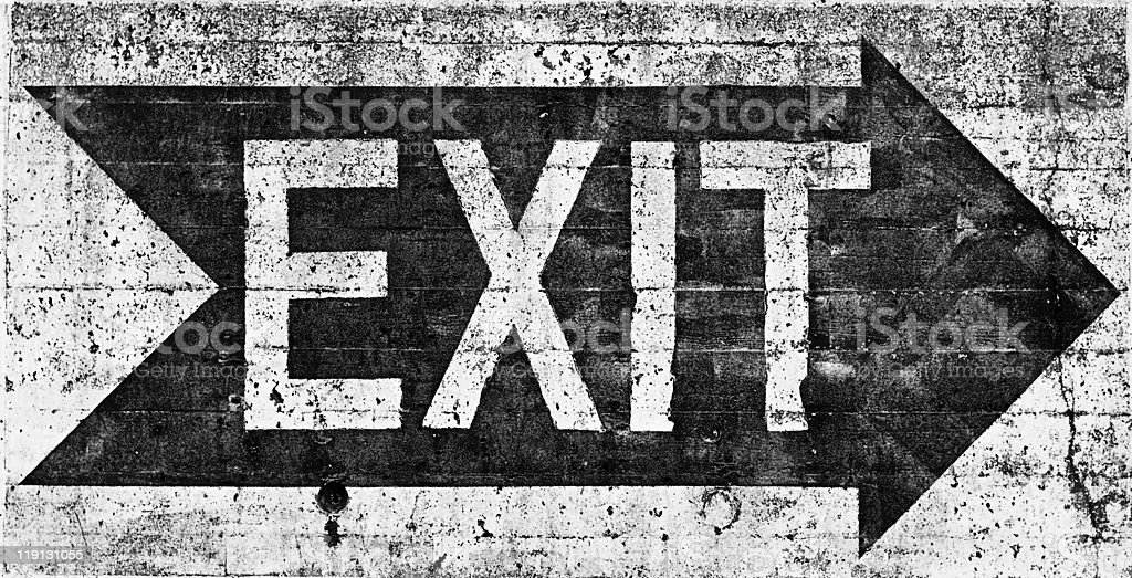 Large grunge EXIT sign stock photo