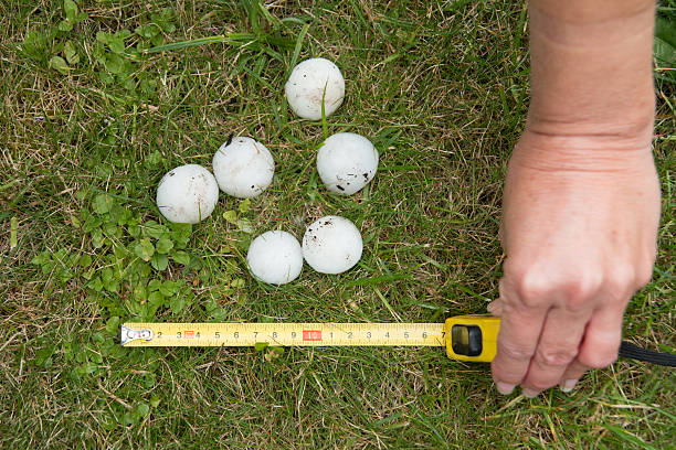 Large hail and scoop on the grass after storm stock photo