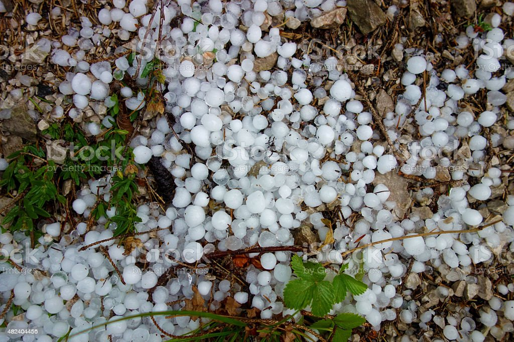 Large hailstones in the Alps of Germany stock photo