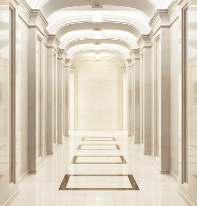 Large beautiful hallway in a classic style