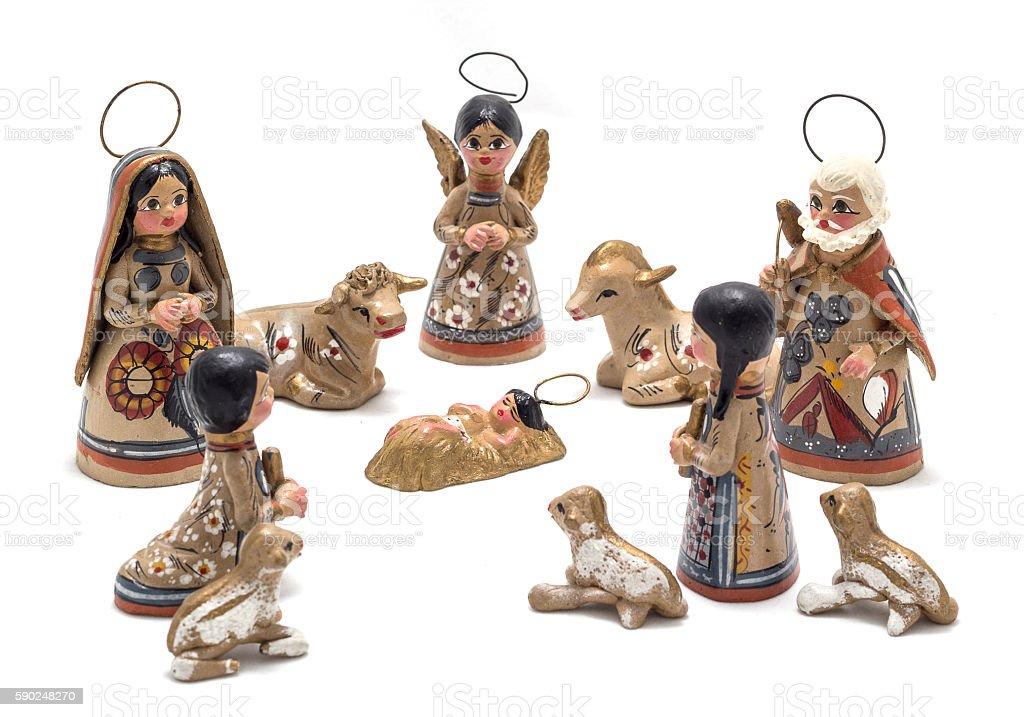 large handmade nativity scene stock photo