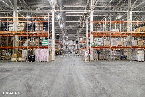 istock Large hangar warehouse industrial and logistics companies. 1139441496