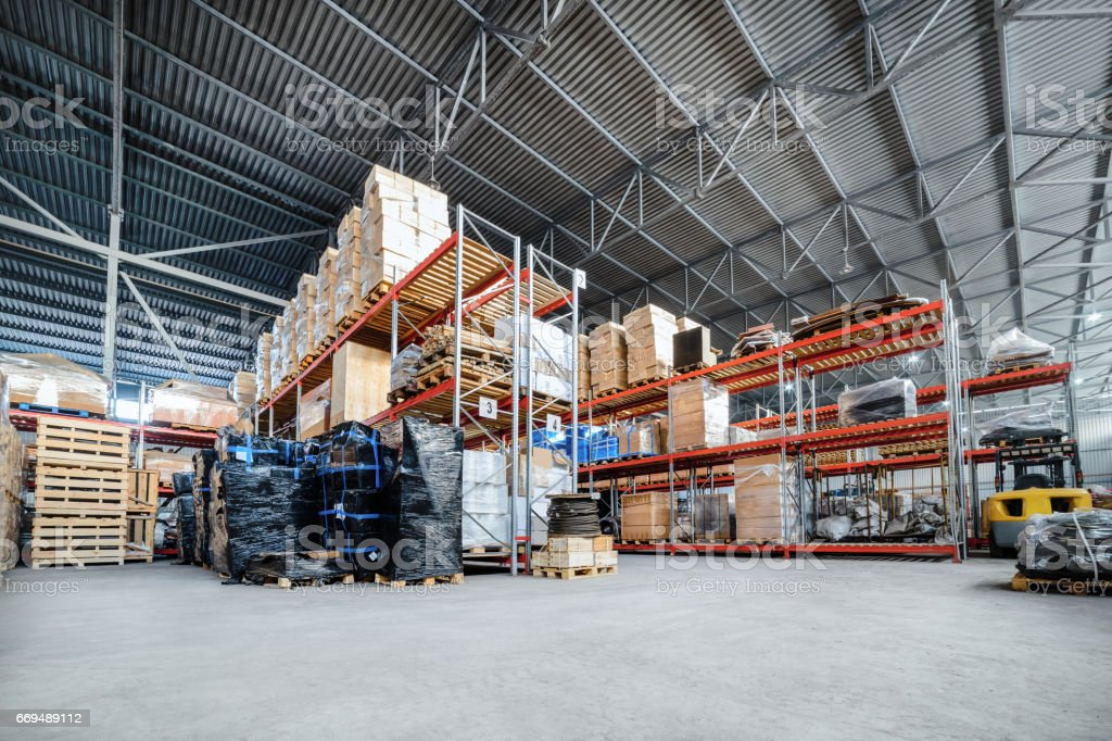 Large hangar warehouse industrial and logistics companies stock photo