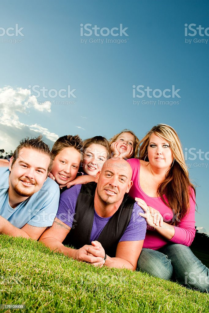 Large Happy Young Family royalty-free stock photo