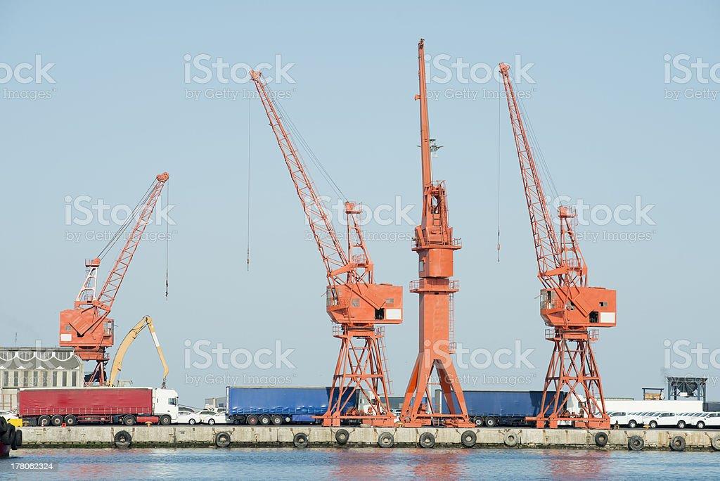 Large harbor cranes royalty-free stock photo
