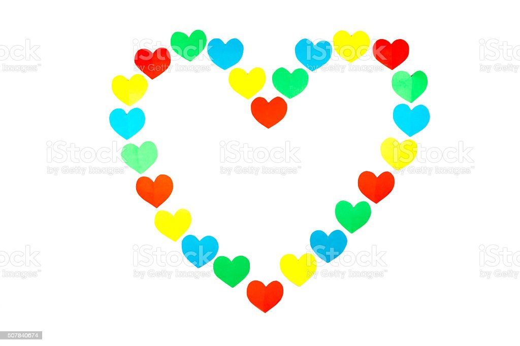 Large Heart Shape Built Of Little Colored Hearts On White Stock