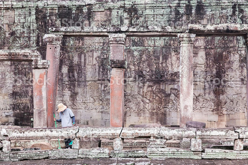 Large historic relief in the temple Bayon, Angkor stock photo