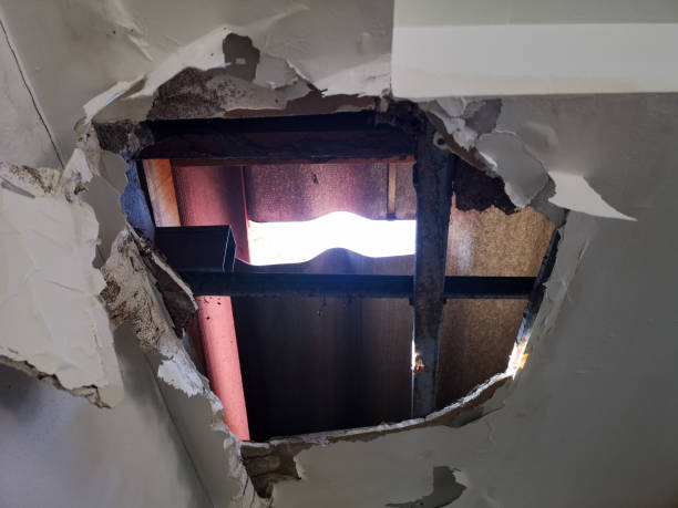 Large Hole in the roof causing ceiling collapse stock photo