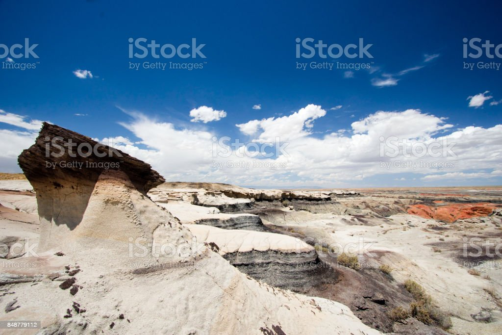 large hoodoo rock formation in the New Mexico desert stock photo