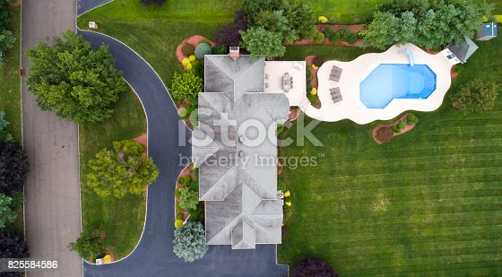 istock Large house and property from aerial shot, Straight down. Panoramic view 825584586