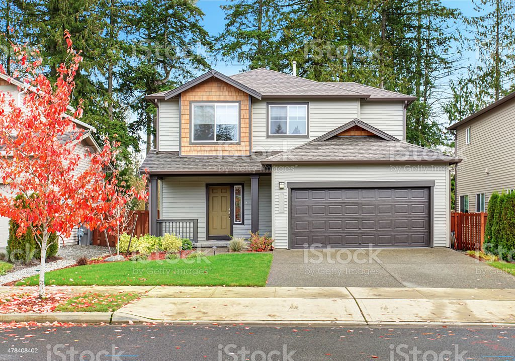 Large house with driveway. stock photo