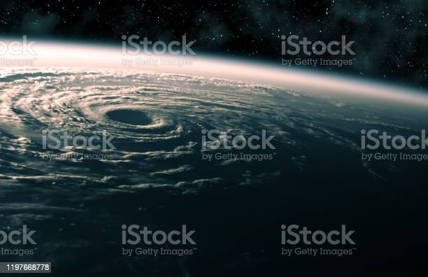 Photo of Large Hurricane Raging On Planet Earth. View From Space.