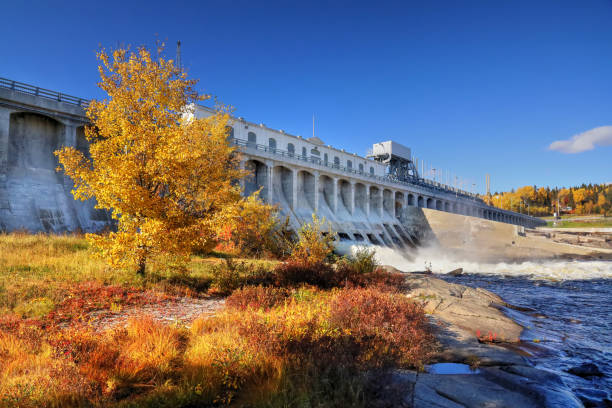 Large Hydro Electric Dam in Saguenay at Fall stock photo