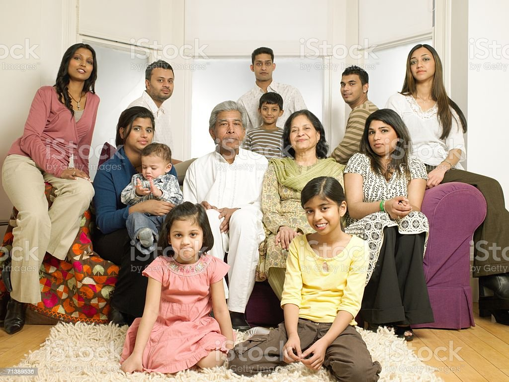 Large Indian Family In Living Room Stock Photo - Download ...