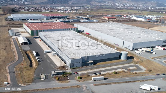 Large industrial area, logistics industry buildings - aerial view