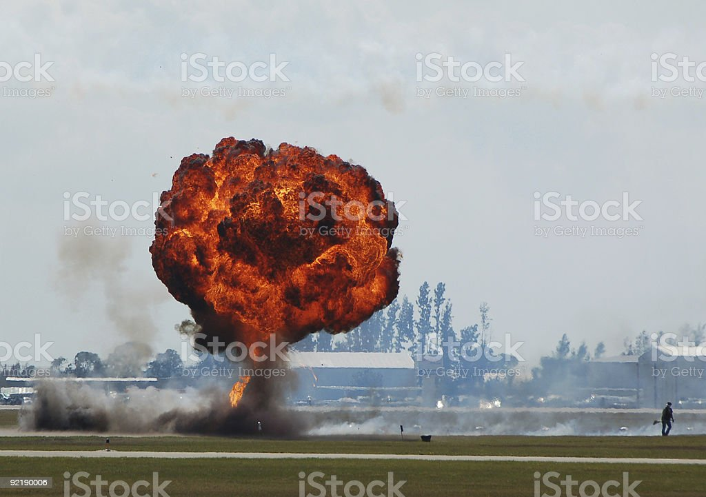 Large industrial explosion stock photo