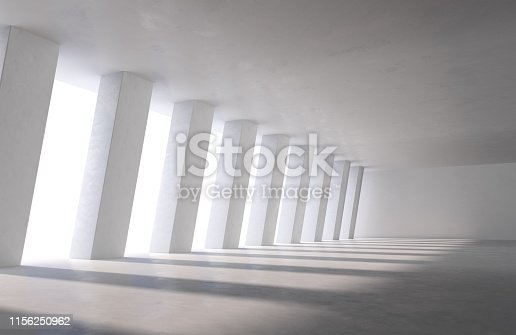 White concrete room interior with columns. Large industrial hall, car parking or office building with daylight shadows on floor. 3D illustration