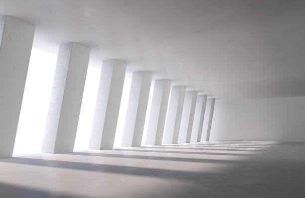 大型工業大廳、停車場或辦公樓,地板上有日光陰影 - 大廈樓層 個照片及圖片檔