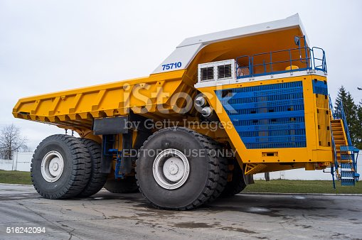 istock Large Industrial Mining Dump Truck BelAZ Background 516242094