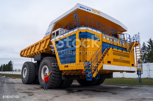 istock Large Industrial Mining Dump Truck BelAZ with man for scale 516242102
