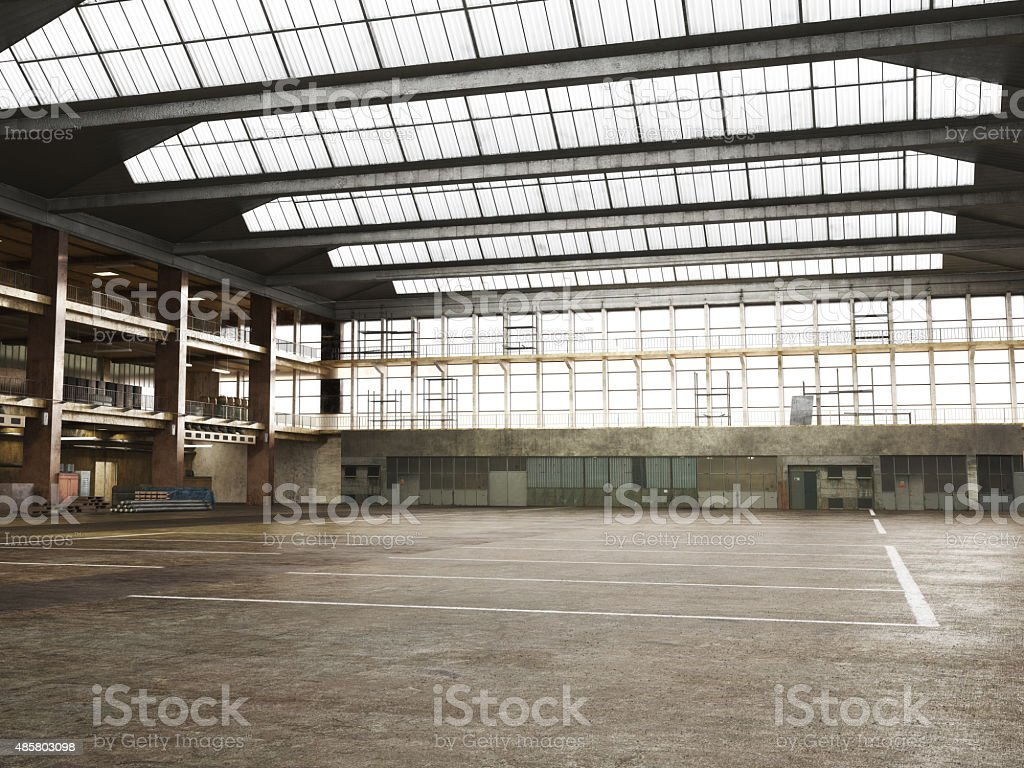Large Interior grunge framed warehouse with an empty floor . stock photo