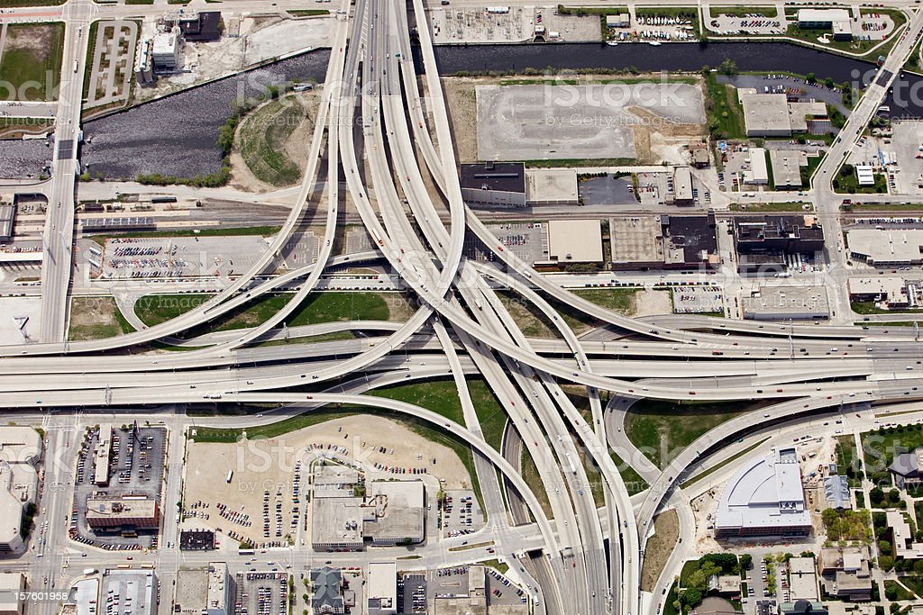 Large Interstate Highway Interchange in Downtown Milwaukee Wisconsin stock photo