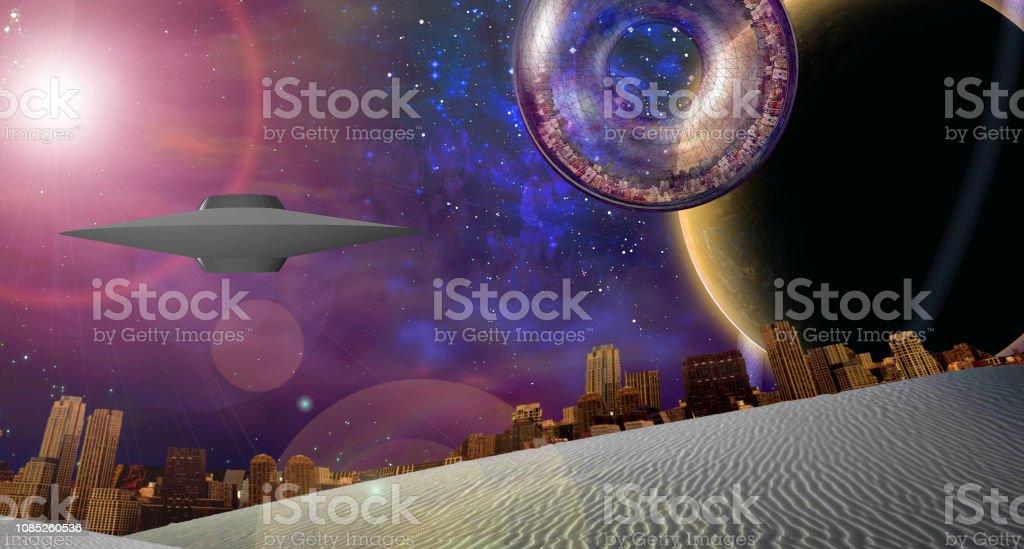 Grande cidade interestelar navio perto de planeta - foto de acervo