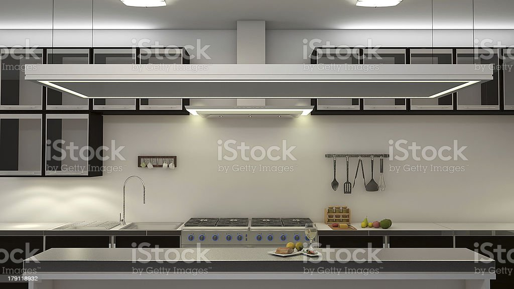 A large kitchen area with a stove stock photo