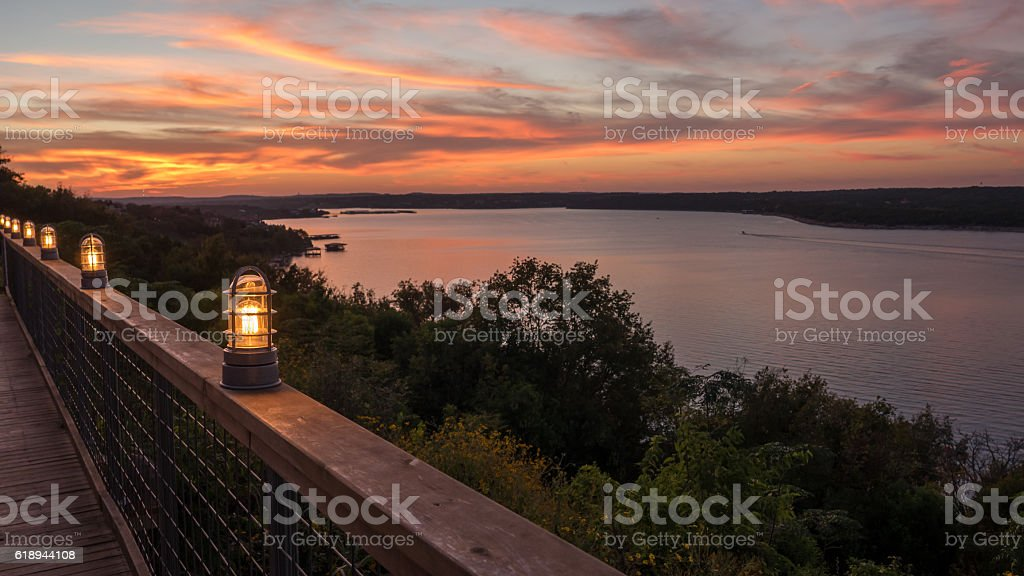 Large Lake from Wooden Terrance during Sunset stock photo