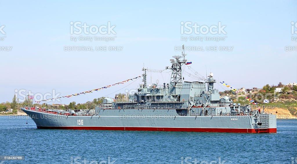 Large landing ship 'Yamal' in the Sevastopol Bay stock photo