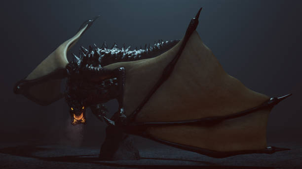grandes cuernos legendario dragón negro alado con brillar intensamente los ojos y respirar humo y brasas - dragón fotografías e imágenes de stock