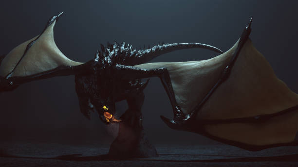 grandes cornes légendaire dragon noir ailé avec incandescent yeux et respirer la fumée et les braises - dragon photos et images de collection