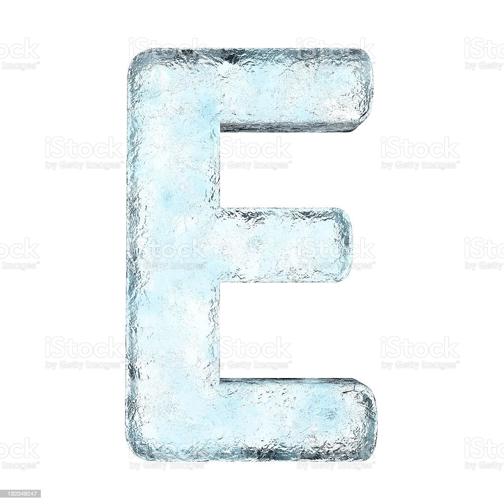 Large letter E made out of ice royalty-free stock photo