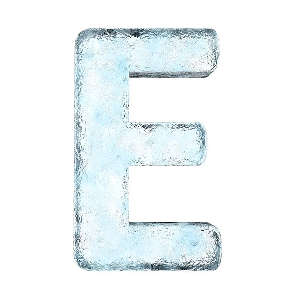 Large letter E made out of ice stock photo