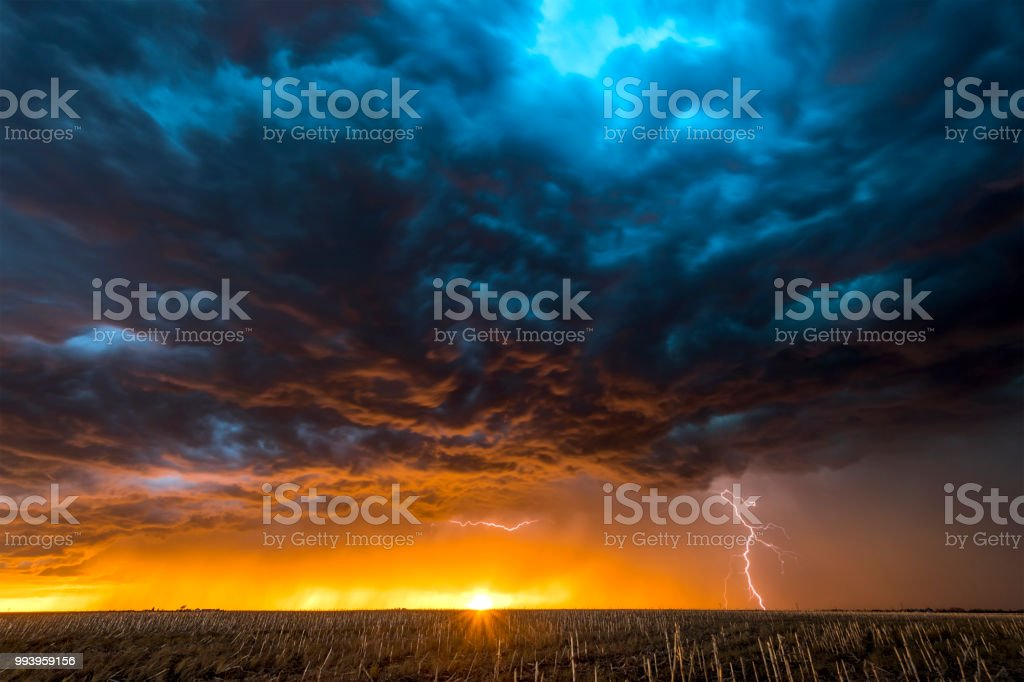 Large lightning strike at dusk on Tornado Alley stock photo