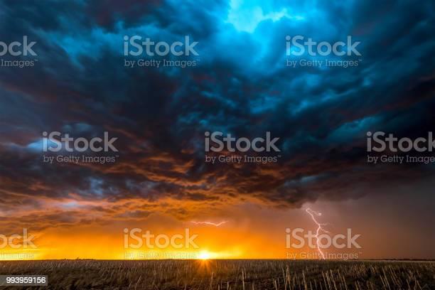 Photo of Large lightning strike at dusk on Tornado Alley