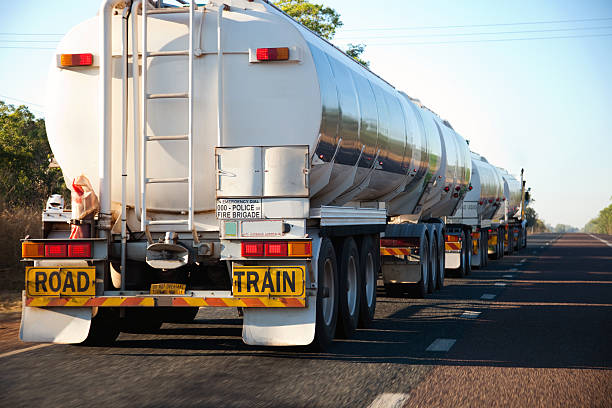 Large Lorry Truck Road Train rear view stock photo