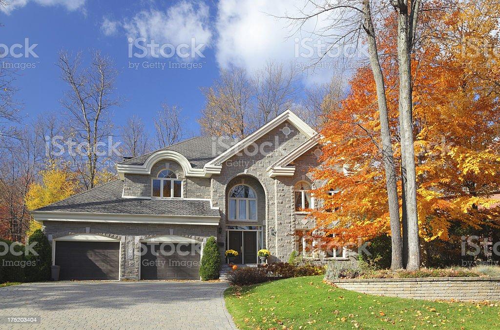 Large Luxurious Autumn House stock photo