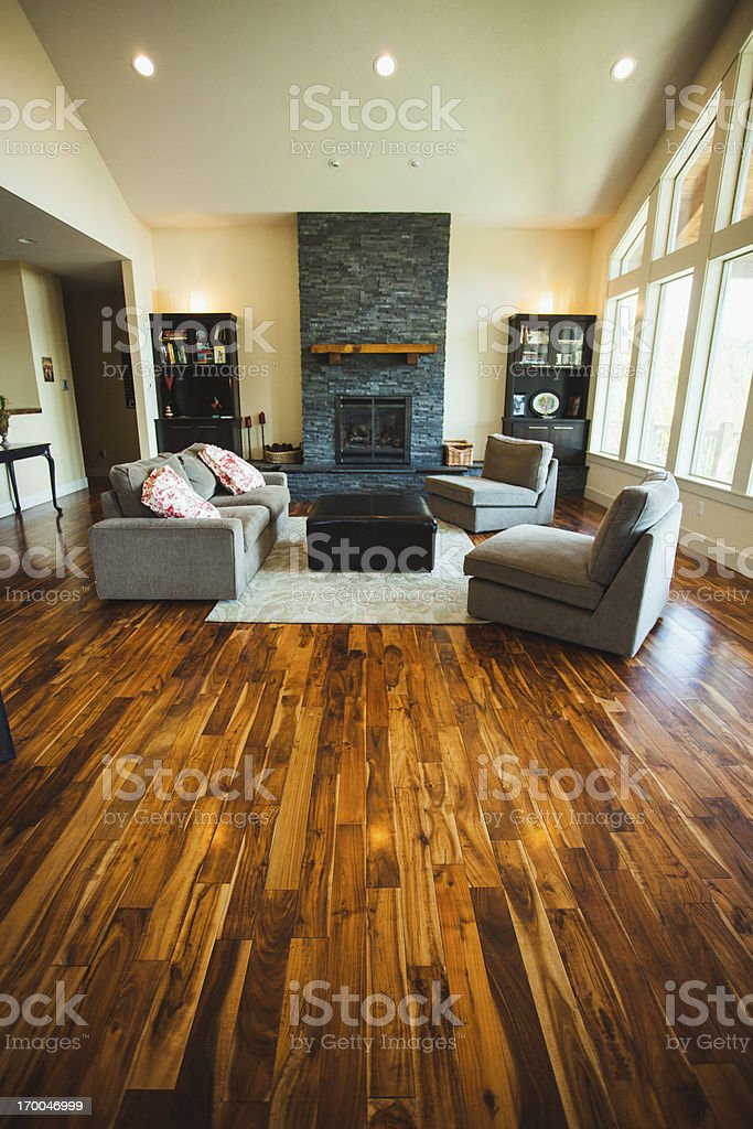Large Luxury Home with Hardwood Floors and Furniture stock photo