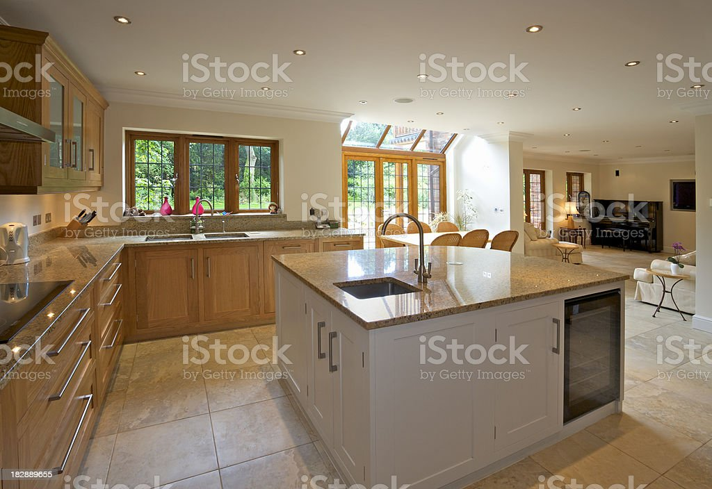 large luxury kitchen and morning room royalty-free stock photo