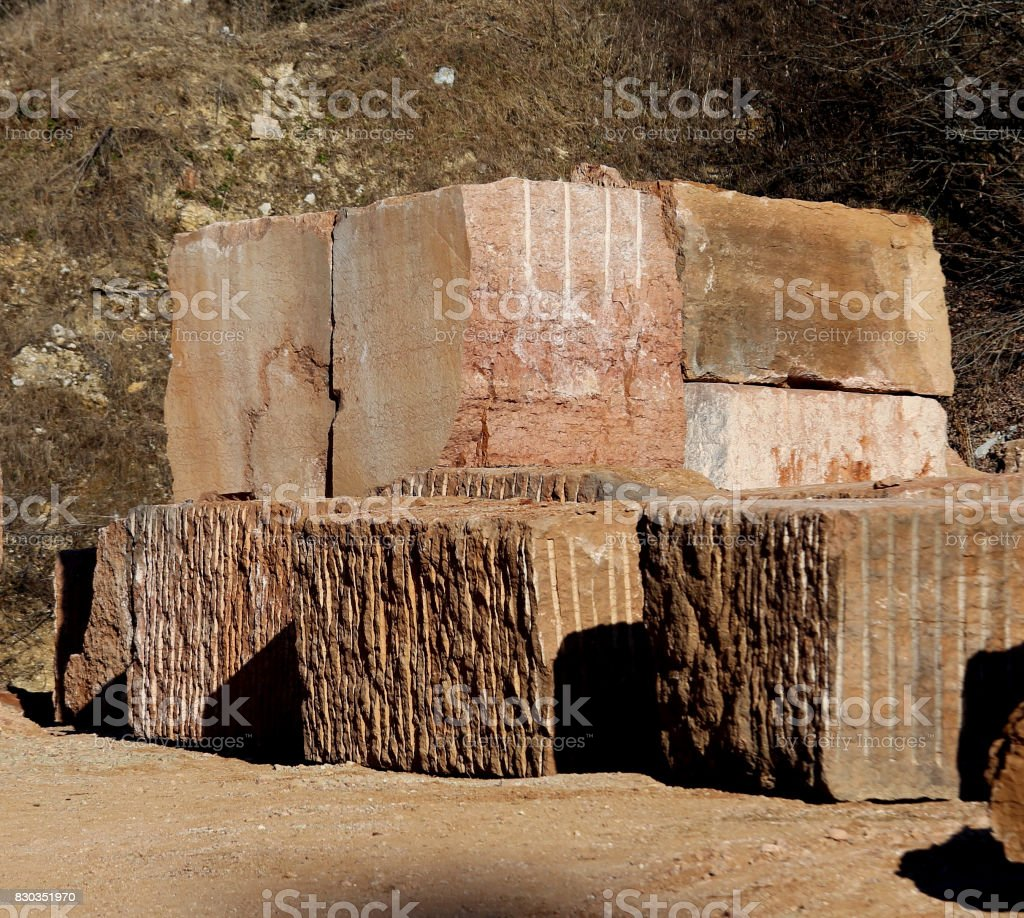 large marble quarry without people with the huge blocks of marbl stock photo