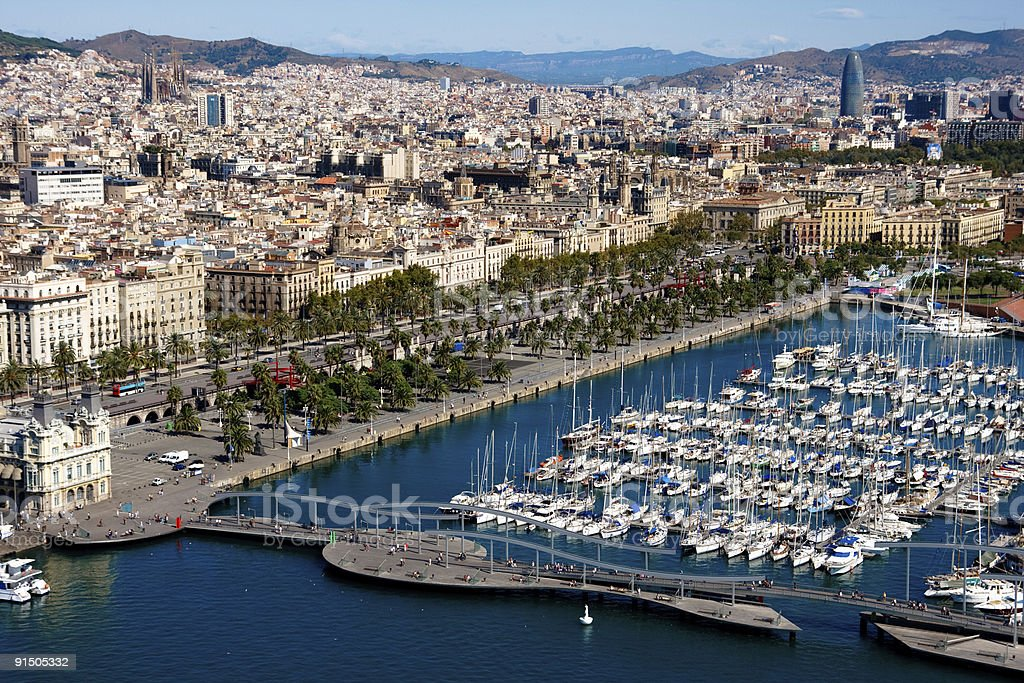 Large marina and cityscape in Barcelona royalty-free stock photo