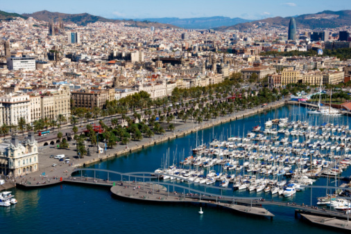 Large marina and cityscape in Barcelona