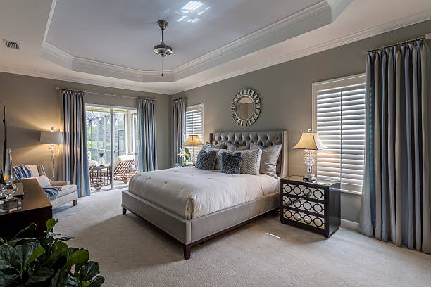 Large master bedroom in southwest Florida home stock photo
