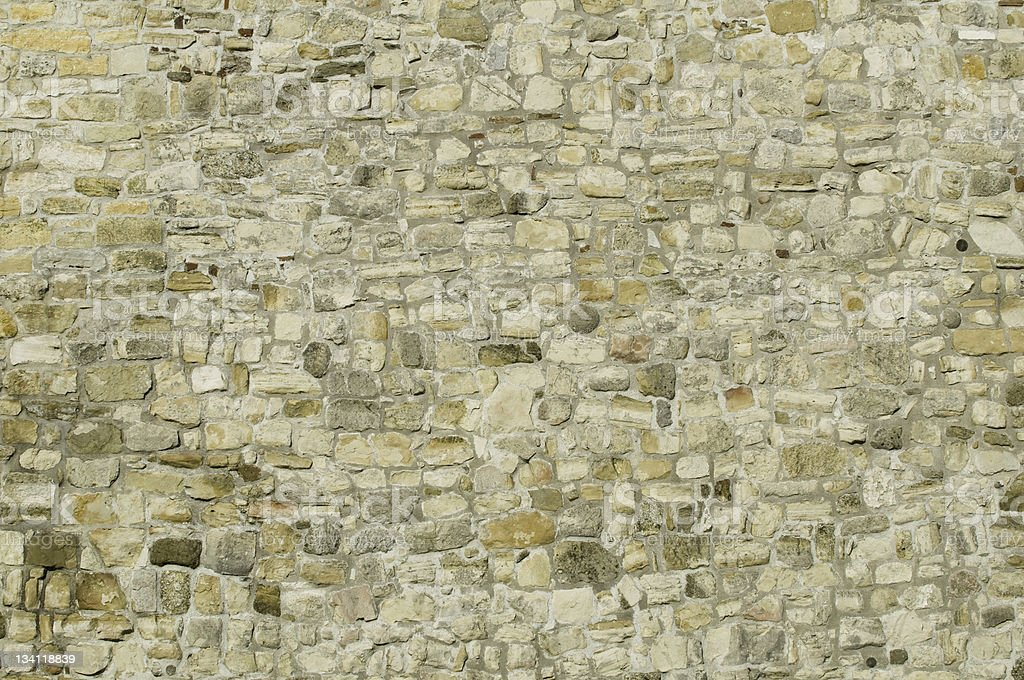 Large medieval stone wall stock photo